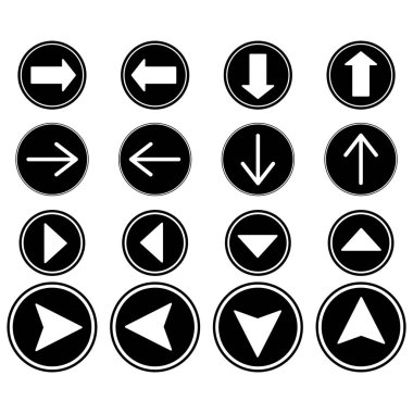 Arrows in black circles in different directions isolated on white stock vector