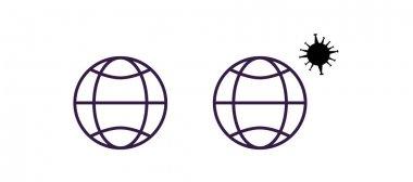 Coronavirus molecule and globes isolated on white stock vector