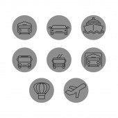 vector icons in grey circles on white background