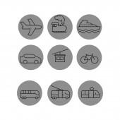 Vektor-Transport-Symbole in grauen Kreisen auf weißem Hintergrund