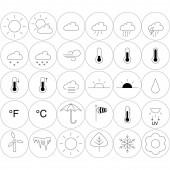 vektorové ikony počasí v kruzích na bílém pozadí