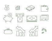 vektorfinanszírozási ikonok fehér alapon