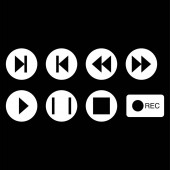 Photo vector music buttons icons in white circles on black background
