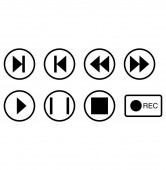 Photo vector music buttons icons in circles on white background