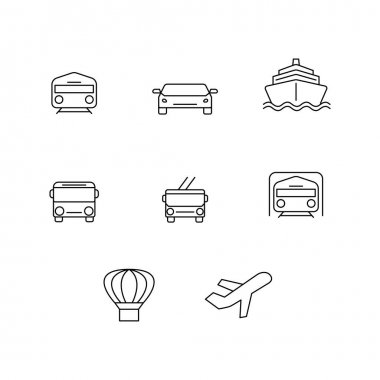 Vector transport icons on white background stock vector