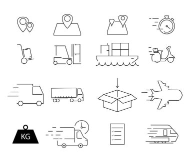 Vector shipping icons on white background stock vector