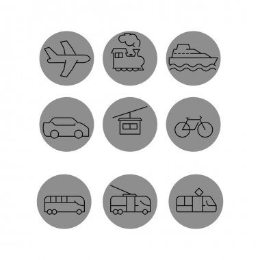 Vector transport icons in grey circles on white background stock vector