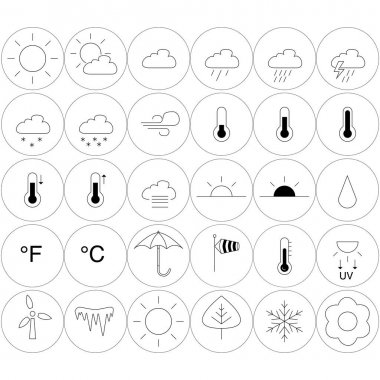 Vector weather icons in circles on white background stock vector