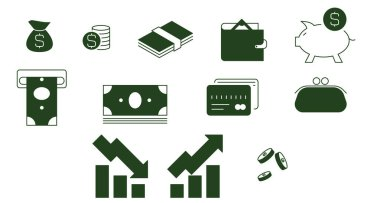 vector finance icons on white background
