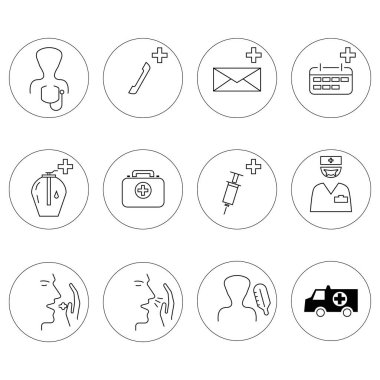 Vector healthcare icons in circles on white background stock vector