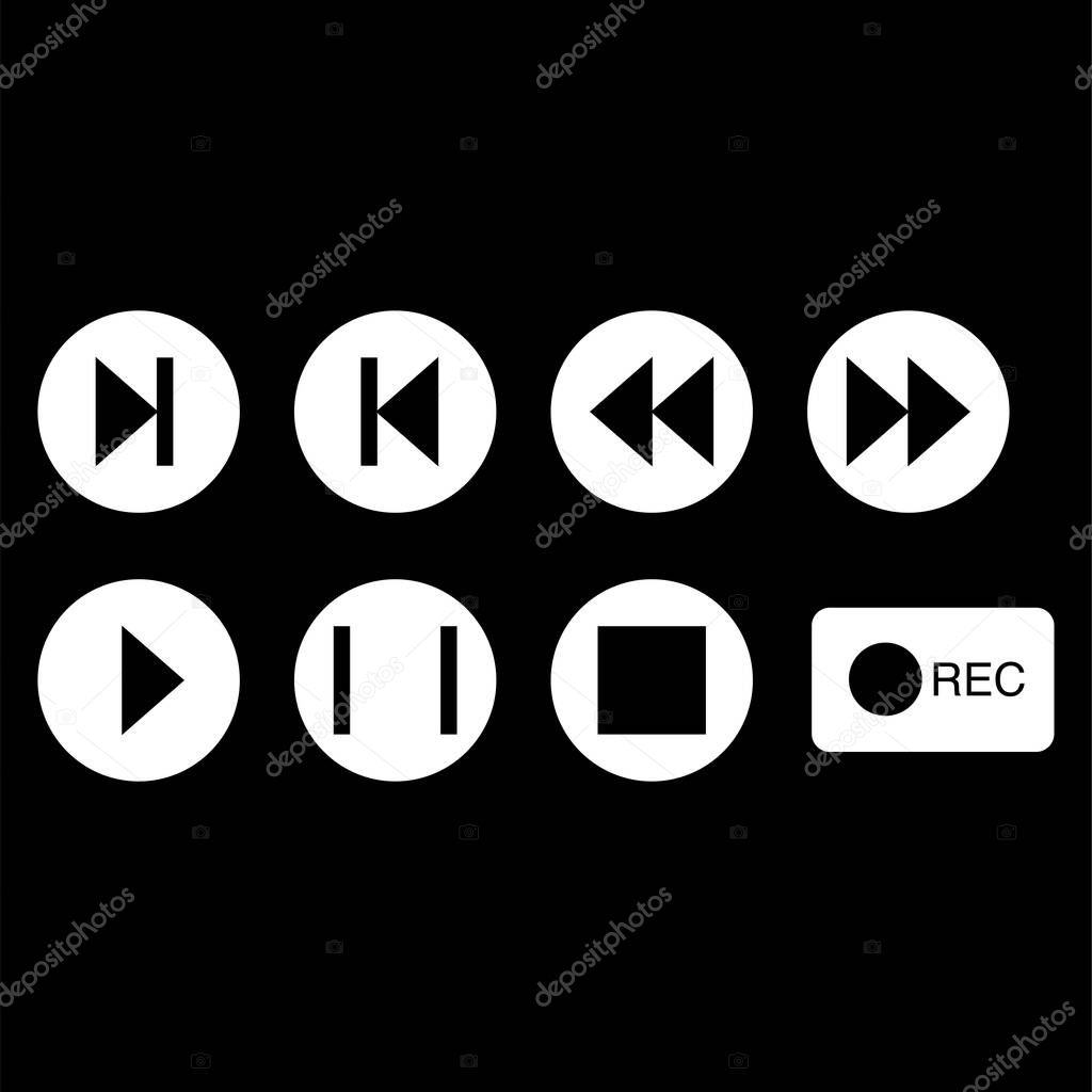 Vector music buttons icons in white circles on black background stock vector