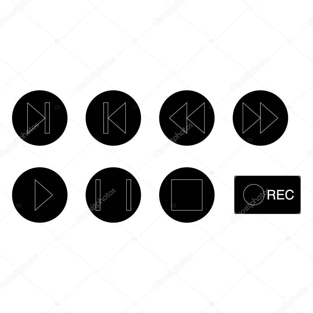 Vector music buttons icons in black circles on white background stock vector
