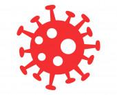 Rote Virusbakterien auf weißem Hintergrund