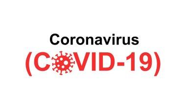 Beyaz arkaplanda kırmızı ve siyah koronavirüs ve covid-19 harfleri