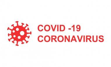 kırmızı koronavirüs ve covid-19 harfleri beyaz arka planda bakteri ile
