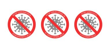 Red stop signs and bacteria with stop virus covid-19 lettering on white background stock vector