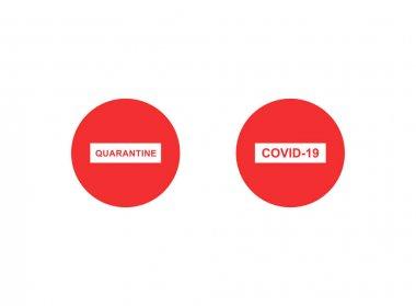 Beyaz arkaplanda kırmızı dur işaretleri ve covid-19 harfleri var.