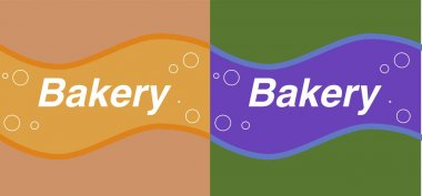 Set of brown and green bakery labels with waves and bubbles clip art vector