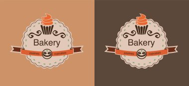 Set of brown bakery labels with cupcakes clip art vector