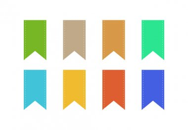Set of blank colorful ribbons with copy space on white background clip art vector