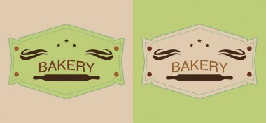 Set of beige and green bakery labels with rolling pins stock vector