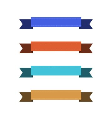 Set of empty colorful ribbons with copy space on white background clip art vector