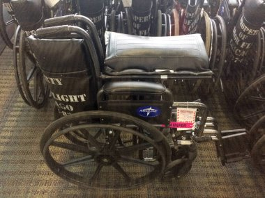 Wheelchair storage area at airport