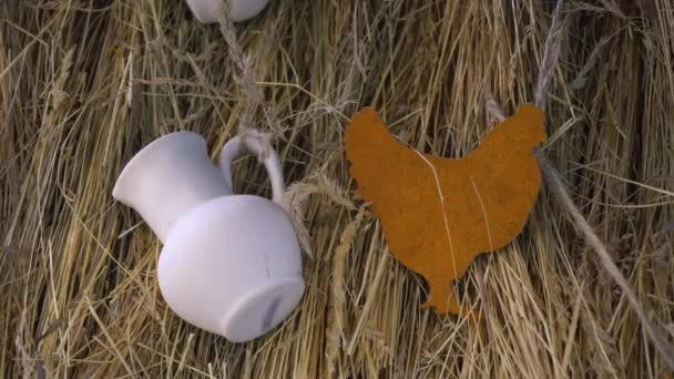 Toy From Wood Chicken and White Pitcher