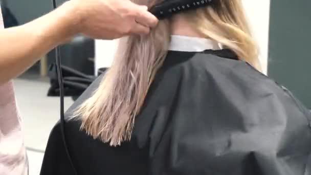junge frau mit friseur haare schneiden im salon. frau, ihr