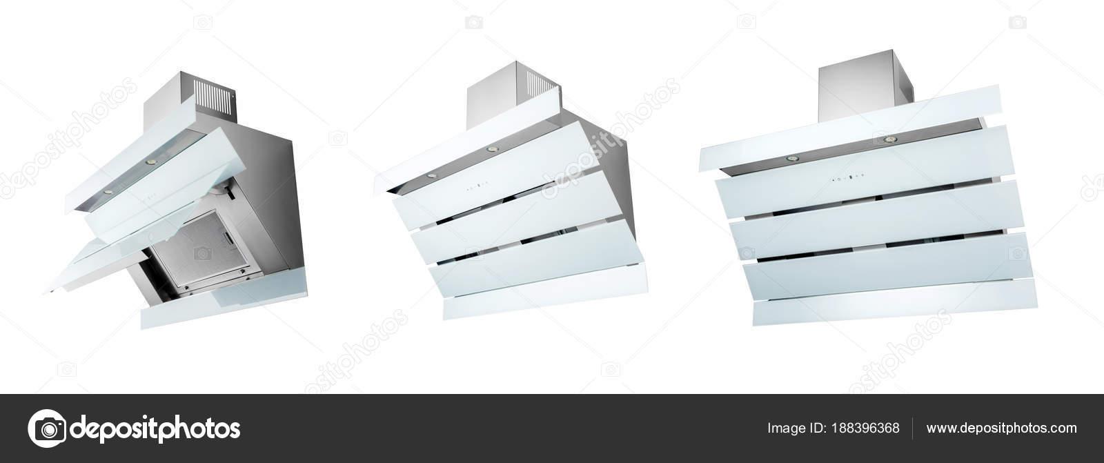 Cappa cucina bianca moderna, isolato su bianco. Tre posizioni — Foto ...