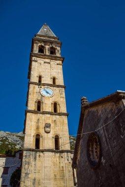 Old Church st. Eustachius Building on street old town  Dobrota Kotor Montenegro trip  travel summer