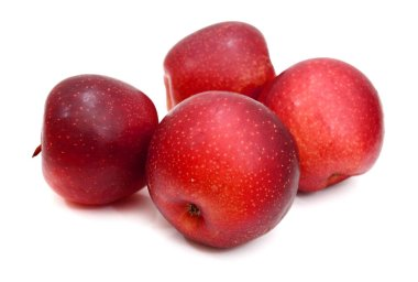 Red ripe apples isolated on white background