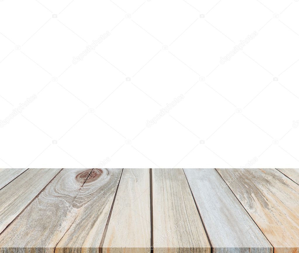 Empty wood table top isolated on white background for product display  montages   Stock Photo. Empty wood table top isolated on white background for product