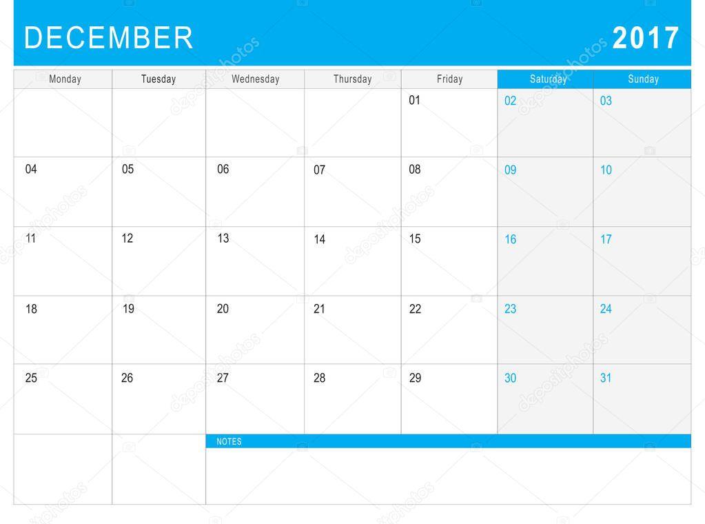 Calendário Dezembro 2017 Ou Planejador De Mesa Com Notas Stock