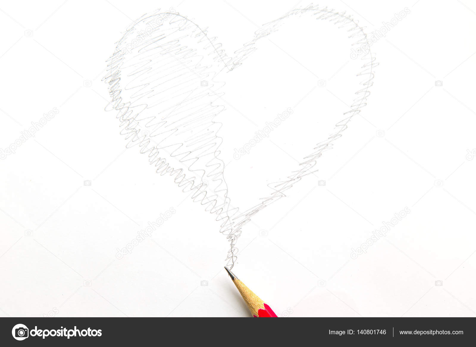 Line Drawing Heart Shape : Drawing heart shape with pencil isolated on white background