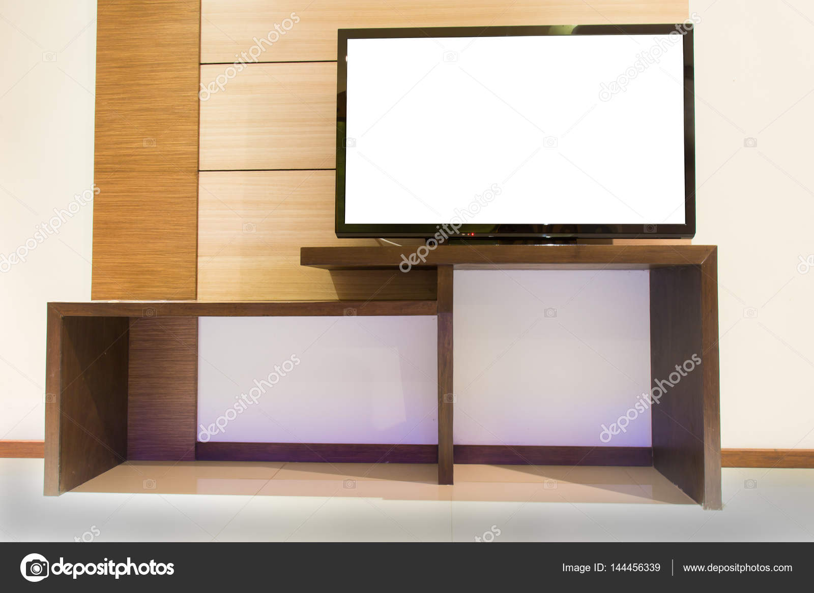 Enjoyable Light Wooden Tv Cabinet With Blank White Tv In Room Interior Creativecarmelina Interior Chair Design Creativecarmelinacom
