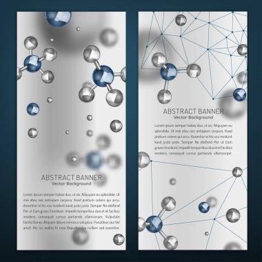 Beautiful portrait digital banners with silver particles and molecular structure. Abstract molecules design in grey ans blue colours. Medical backgrounds for banner or flyer. Vector illustration. clip art vector