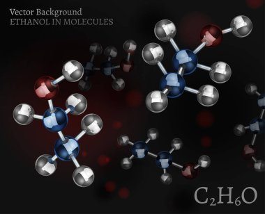 Scientific background with metallic ethanol molecules in volumetric style. C2H6O vector illustration on a dark black and red backdrop. Medical, educational and popular-scientific concept. clip art vector