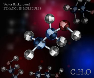 Scientific background with metallic ethanol molecules in volumetric style. C2H6O vector illustration on a dark black, red and blue backdrop. Medical, educational and popular-scientific concept. clip art vector