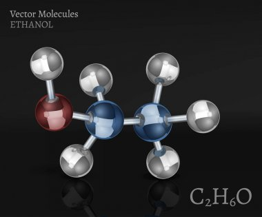 Ethanol molecule in volumetric style. C2H6O vector illustration isolated on a dark grey background. Scientific, educational and popular-scientific concept. clip art vector