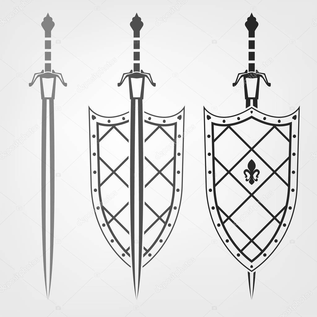 Надписями старый, картинки щит и меч русского богатыря в векторе