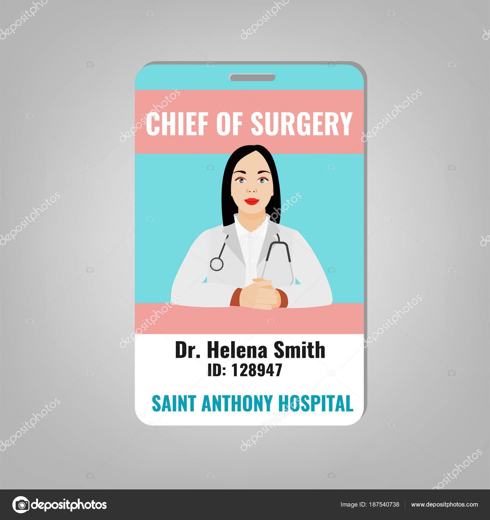 carnet de identidad del doctor — Archivo Imágenes Vectoriales ...