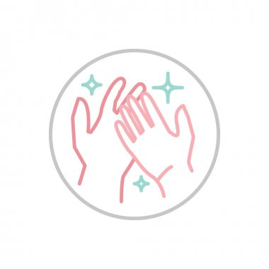 Hand wash hygiene icon. Respiratory hygiene sign. Anti-bacterial hands washing pictogram. Medical care concept. Vector illustration isolated on a white background