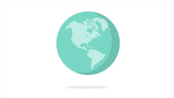 Plochá konstrukce rotující Zemi izolovanou na bílo. Animace planety Země. Plochý design