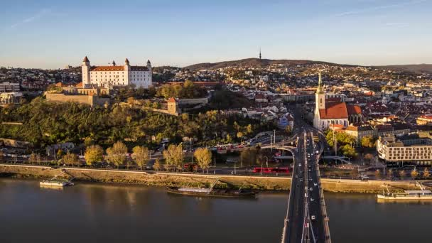 Bratislava, Slovakia - Panoramic View with the Castle and Old Town as Seen from Observation Deck. Time Lapse.
