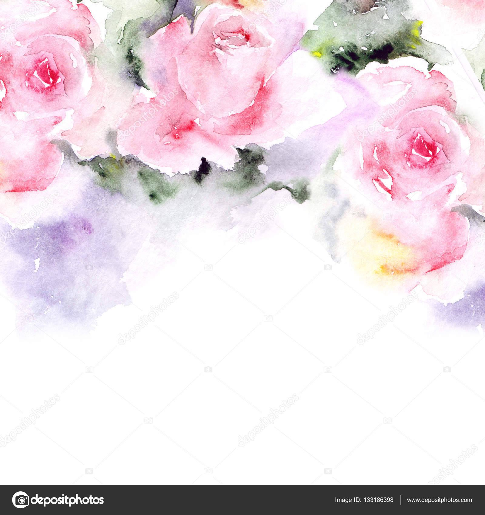 Floral Background Watercolor Pink Flowers Floral Border Greeting