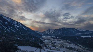Imst, rietz, Austria. Aerial view at sunset.