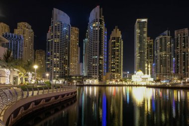 View of Dubai Marina by night, UAE. May 2019