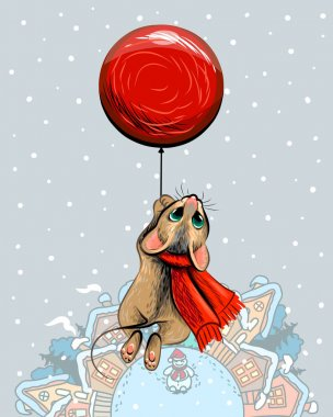 New Year card with a cute mouse flying on a red ball. Artistic winter snow card with a mouse flying on a red ball over houses in pastel colors.