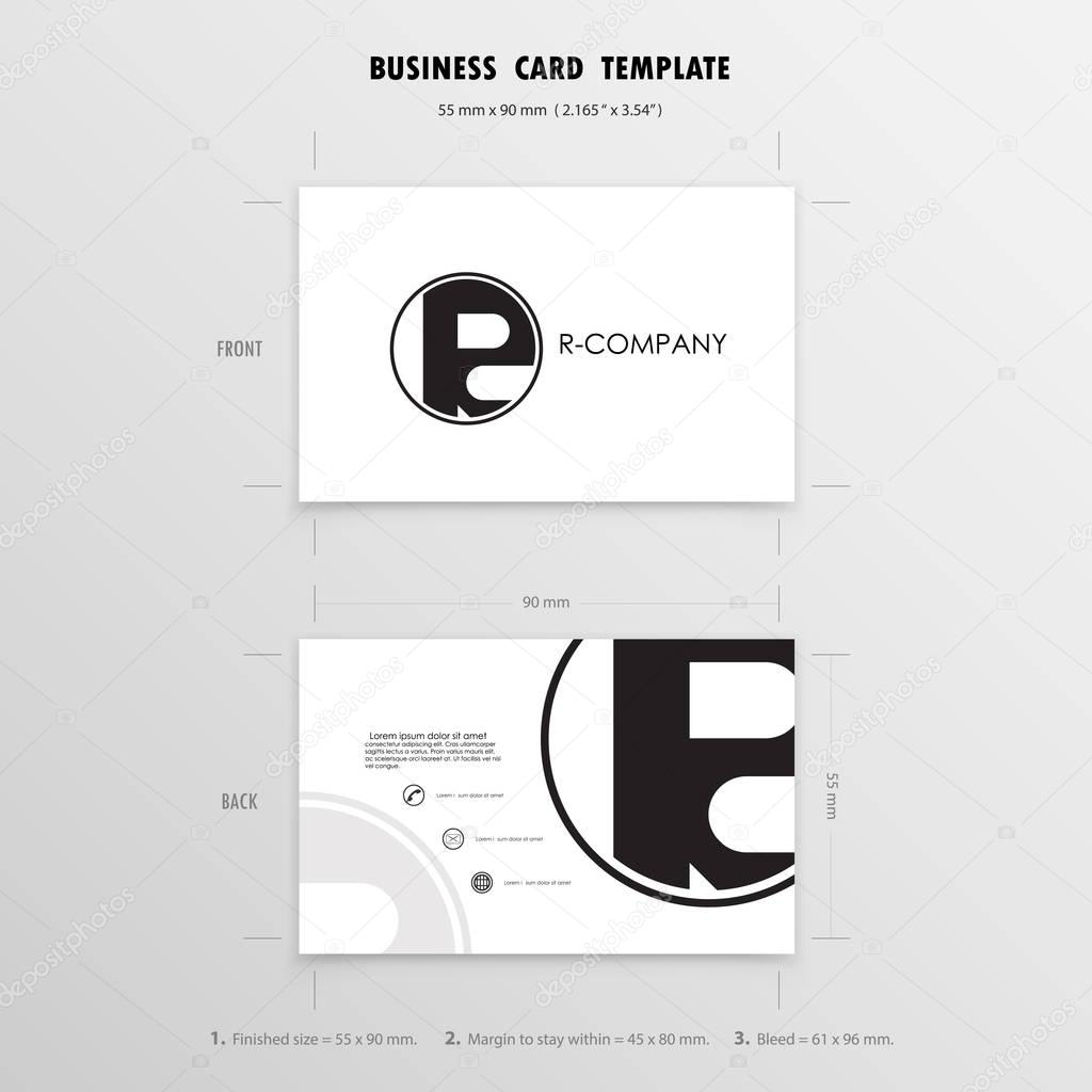 Business Cards Design Template. Name Cards Symbol. Size 55 mm x ...
